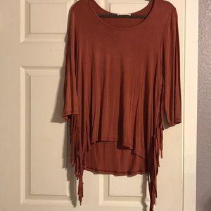 Burnt orange hipster blouse with fringe